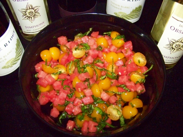 Tomato Watermelon Basil Salad