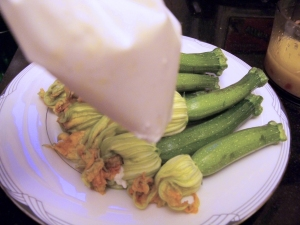 Piping bag and squash blossoms.