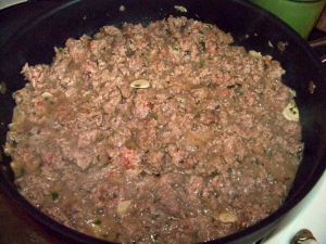 Ground lamb and spices being browned