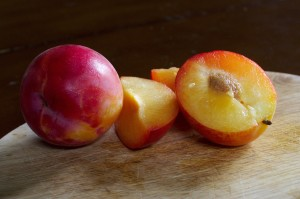 The Pluot®'s mirror image, the Aprium®.