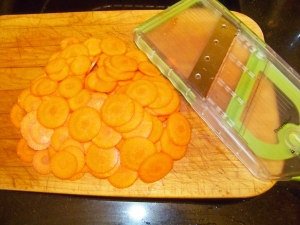 "Carrots, planed on the mini-mandoline. I then cut the ""coins"" in half."