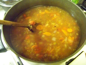 Broth and veggies. Mmmm.