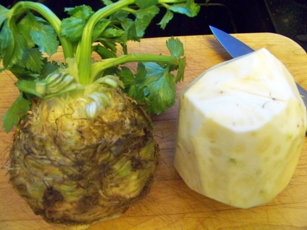 Celeriac, before and after a trim.