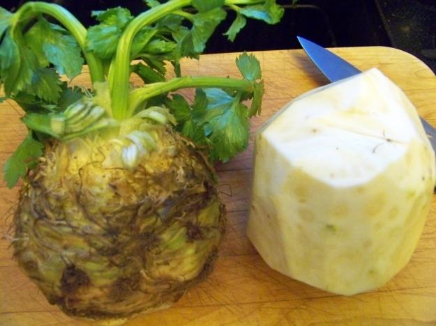 Celeriac, before and after a trim.